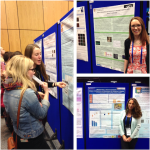 Researchers from the Department of Psychiatry presenting their posters at the BNA2015: Festival of Neuroscience The researchers pictured are: Tiina Annus, Madeleine Walpert andAlexandra Lautarescu (L-R, clockwise). Aude Belin-Rauscent, from the Department of Pharmacology was awarded the runner up Post Doctoral poster prize (800 posters submitted) with her work entitled: The amygdala plays in stereo to recruit the ventral-to-dorsal striatal transitions in the control over cocaine seeking habits